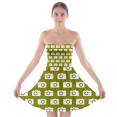 Modern Chic Vector Camera Illustration Pattern Strapless Bra Top Dress