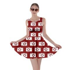 Modern Chic Vector Camera Illustration Pattern Skater Dresses