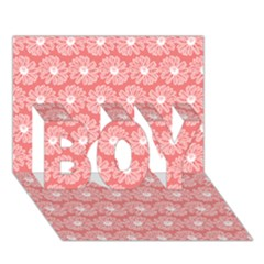Coral Pink Gerbera Daisy Vector Tile Pattern BOY 3D Greeting Card (7x5)