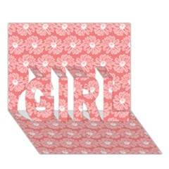 Coral Pink Gerbera Daisy Vector Tile Pattern GIRL 3D Greeting Card (7x5)
