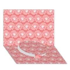 Coral Pink Gerbera Daisy Vector Tile Pattern Circle Bottom 3d Greeting Card (7x5)