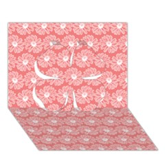Coral Pink Gerbera Daisy Vector Tile Pattern Clover 3d Greeting Card (7x5)