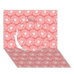 Coral Pink Gerbera Daisy Vector Tile Pattern Circle 3D Greeting Card (7x5)