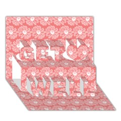 Coral Pink Gerbera Daisy Vector Tile Pattern Get Well 3d Greeting Card (7x5)