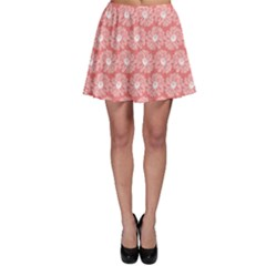 Coral Pink Gerbera Daisy Vector Tile Pattern Skater Skirts