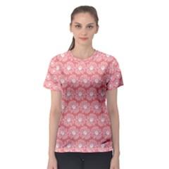 Coral Pink Gerbera Daisy Vector Tile Pattern Women s Sport Mesh Tees