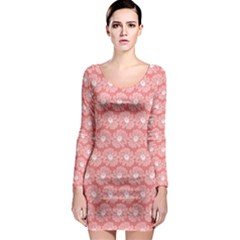 Coral Pink Gerbera Daisy Vector Tile Pattern Long Sleeve Bodycon Dresses
