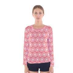 Coral Pink Gerbera Daisy Vector Tile Pattern Women s Long Sleeve T-shirts