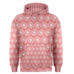 Coral Pink Gerbera Daisy Vector Tile Pattern Men s Pullover Hoodies