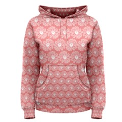 Coral Pink Gerbera Daisy Vector Tile Pattern Women s Pullover Hoodies