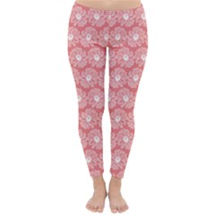 Coral Pink Gerbera Daisy Vector Tile Pattern Winter Leggings