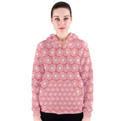 Coral Pink Gerbera Daisy Vector Tile Pattern Women s Zipper Hoodies