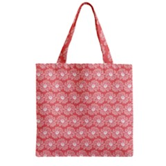 Coral Pink Gerbera Daisy Vector Tile Pattern Zipper Grocery Tote Bags