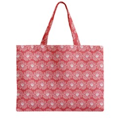 Coral Pink Gerbera Daisy Vector Tile Pattern Zipper Tiny Tote Bags