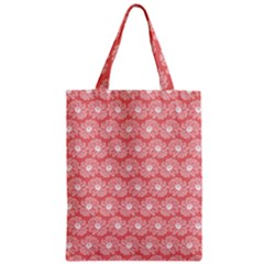 Coral Pink Gerbera Daisy Vector Tile Pattern Zipper Classic Tote Bags