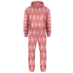 Coral Pink Gerbera Daisy Vector Tile Pattern Hooded Jumpsuit (Men)