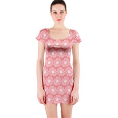 Coral Pink Gerbera Daisy Vector Tile Pattern Short Sleeve Bodycon Dresses