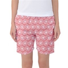 Coral Pink Gerbera Daisy Vector Tile Pattern Women s Basketball Shorts
