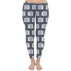 Modern Chic Vector Camera Illustration Pattern Winter Leggings