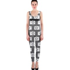 Modern Chic Vector Camera Illustration Pattern OnePiece Catsuits