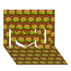 Burger Snadwich Food Tile Pattern I Love You 3D Greeting Card (7x5)