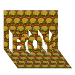 Burger Snadwich Food Tile Pattern BOY 3D Greeting Card (7x5)