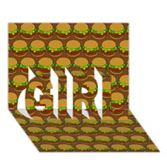 Burger Snadwich Food Tile Pattern Girl 3d Greeting Card (7x5)