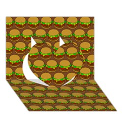 Burger Snadwich Food Tile Pattern Heart 3d Greeting Card (7x5)