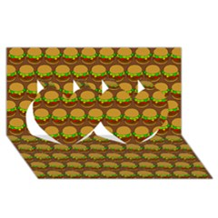 Burger Snadwich Food Tile Pattern Twin Hearts 3D Greeting Card (8x4)