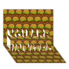 Burger Snadwich Food Tile Pattern You Are Invited 3d Greeting Card (7x5)