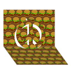 Burger Snadwich Food Tile Pattern Peace Sign 3D Greeting Card (7x5)