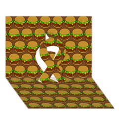 Burger Snadwich Food Tile Pattern Ribbon 3d Greeting Card (7x5)