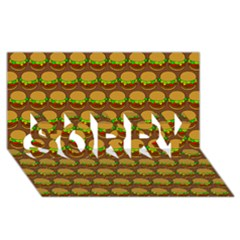 Burger Snadwich Food Tile Pattern SORRY 3D Greeting Card (8x4)