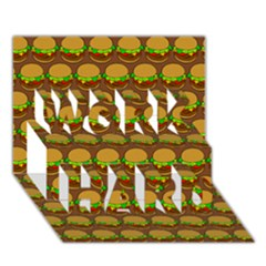 Burger Snadwich Food Tile Pattern Work Hard 3d Greeting Card (7x5)