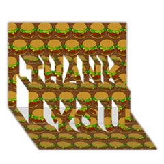 Burger Snadwich Food Tile Pattern Thank You 3d Greeting Card (7x5)