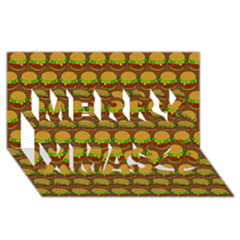 Burger Snadwich Food Tile Pattern Merry Xmas 3D Greeting Card (8x4)