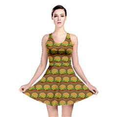 Burger Snadwich Food Tile Pattern Reversible Skater Dresses