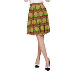 Burger Snadwich Food Tile Pattern A-Line Skirts