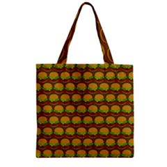 Burger Snadwich Food Tile Pattern Zipper Grocery Tote Bags
