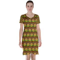 Burger Snadwich Food Tile Pattern Short Sleeve Nightdresses