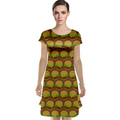 Burger Snadwich Food Tile Pattern Cap Sleeve Nightdresses