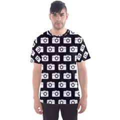 Modern Chic Vector Camera Illustration Pattern Men s Sport Mesh Tees