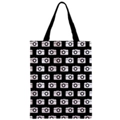 Modern Chic Vector Camera Illustration Pattern Zipper Classic Tote Bags