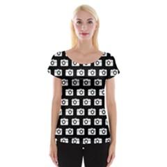 Modern Chic Vector Camera Illustration Pattern Women s Cap Sleeve Top