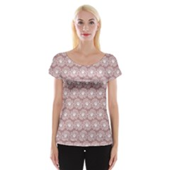 Gerbera Daisy Vector Tile Pattern Women s Cap Sleeve Top