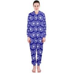 Gerbera Daisy Vector Tile Pattern Hooded Jumpsuit (Ladies)
