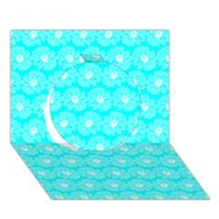 Gerbera Daisy Vector Tile Pattern Circle 3d Greeting Card (7x5)