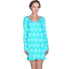 Gerbera Daisy Vector Tile Pattern Long Sleeve Nightdresses