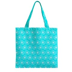 Gerbera Daisy Vector Tile Pattern Zipper Grocery Tote Bags