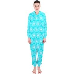 Gerbera Daisy Vector Tile Pattern Hooded Jumpsuit (ladies)